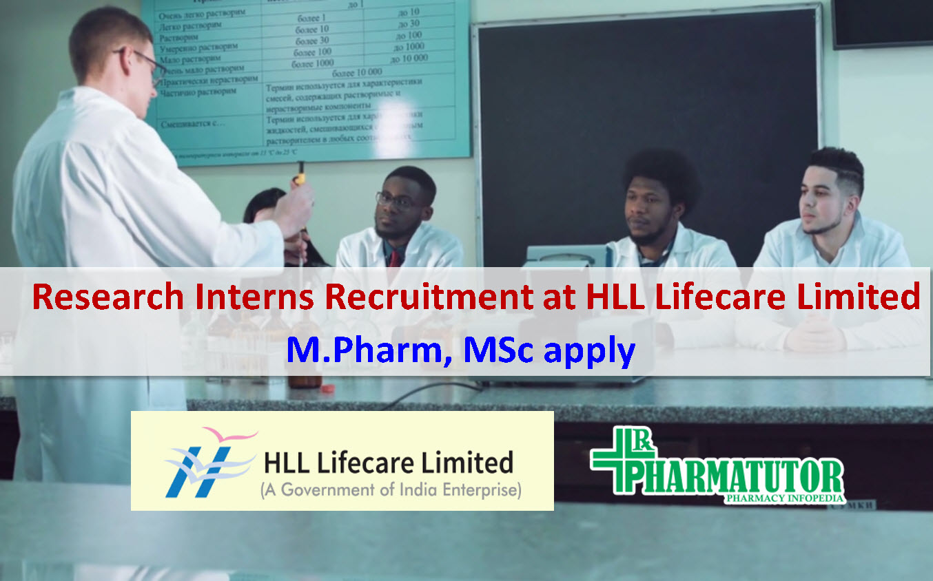 Research Interns recruitment at HLL Lifecare Limited