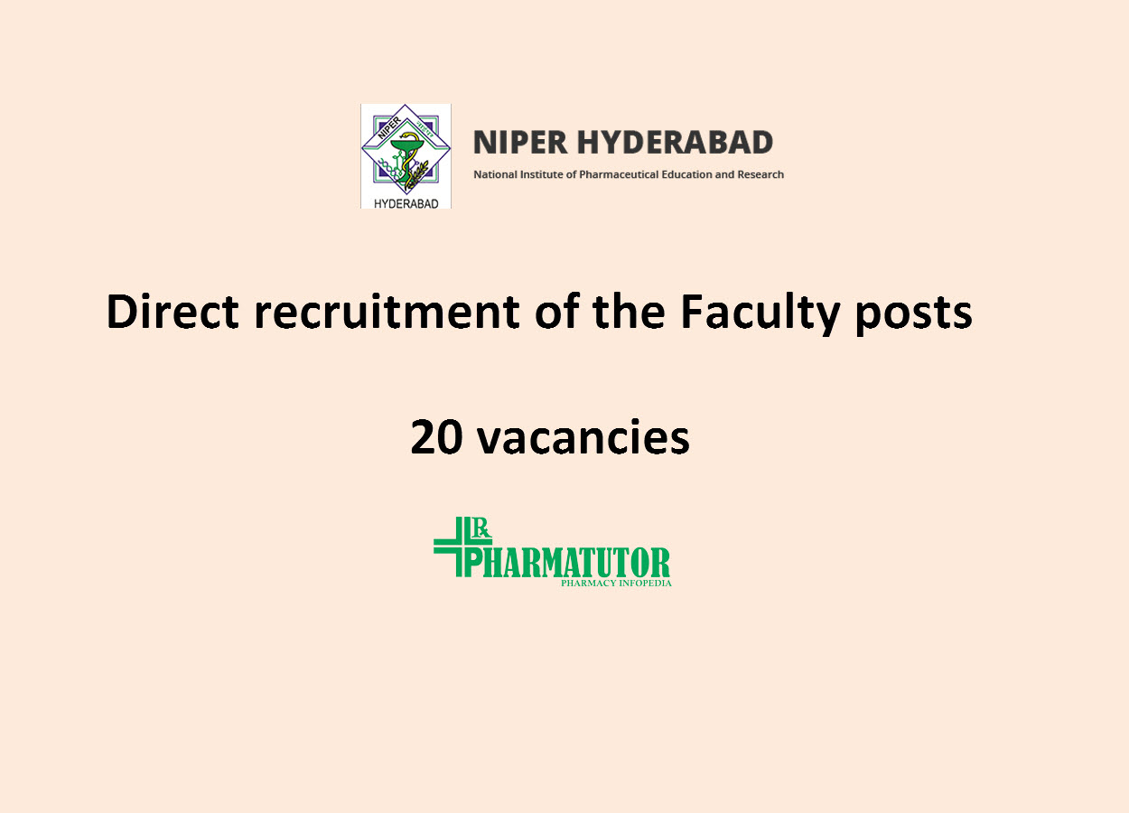Direct recruitment of the Faculty posts at NIPER | 20 vacancies