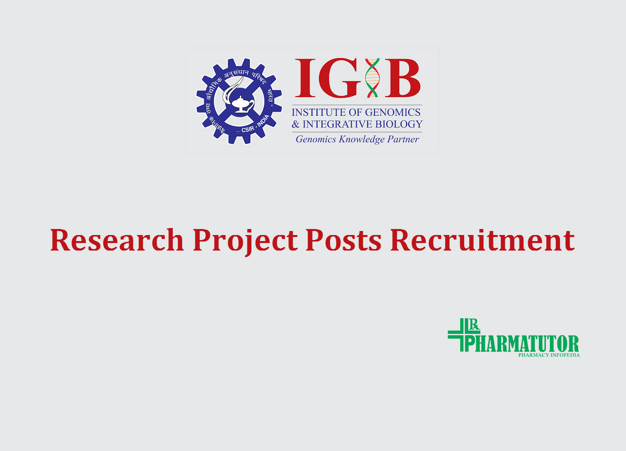 IGIB Research Project Posts Recruitment