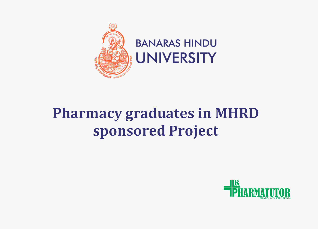 pharmacy graduates job in mhrd sponsored project