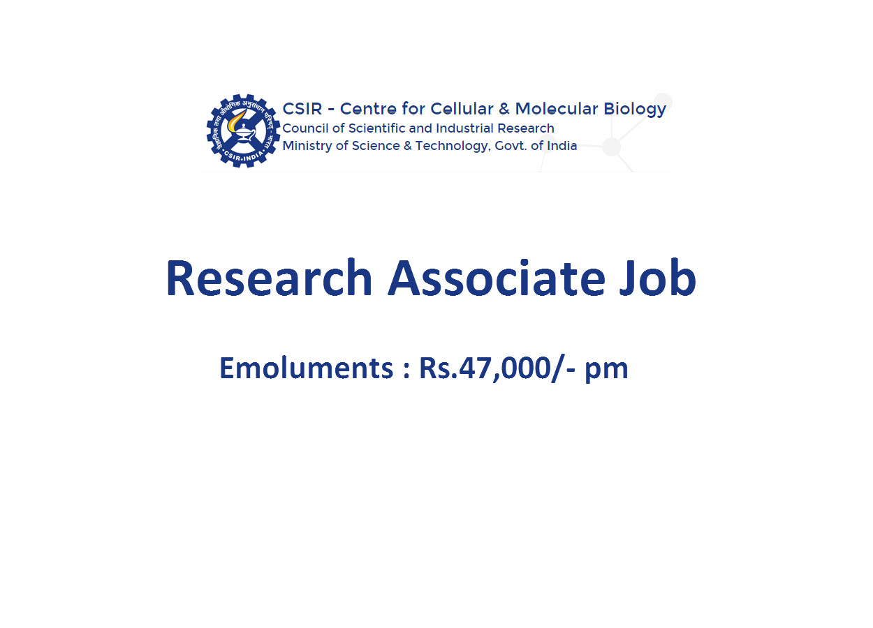Vacancy for Research Associate at CCMB
