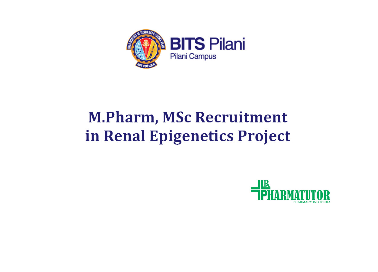 M.Pharm, MSc Recruitment in Renal Epigenetics Project at BITS
