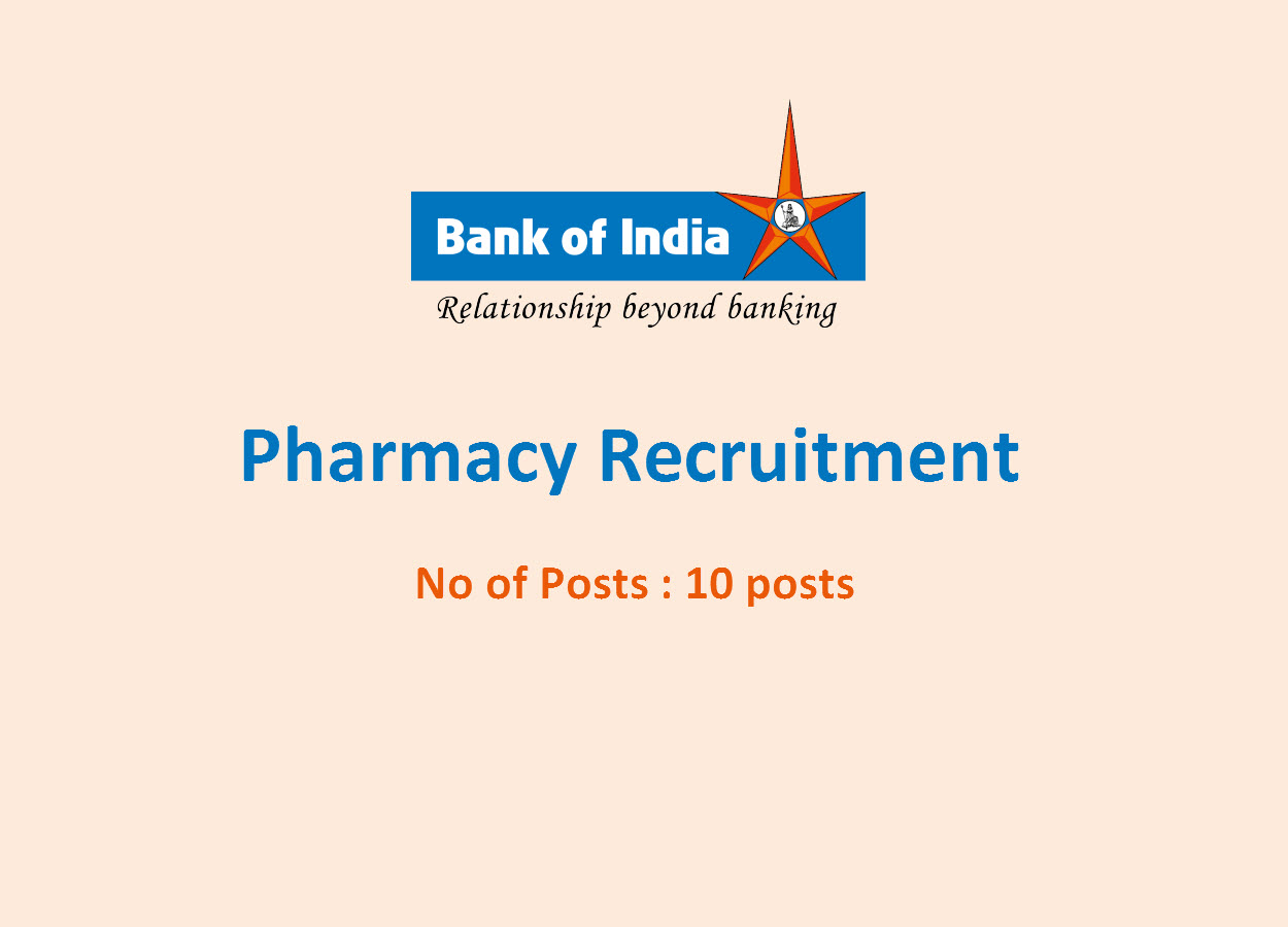 Pharmacy Recruitment at Bank of India | 10 posts