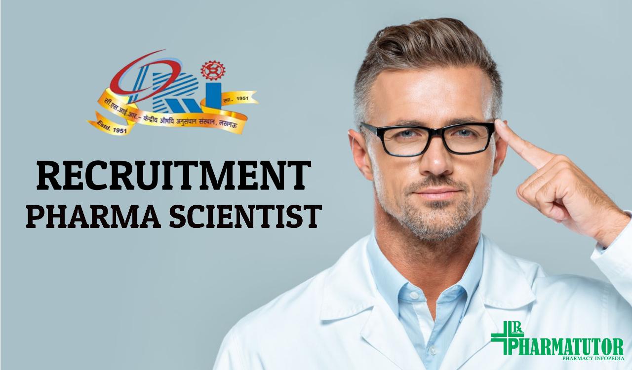 Pharma scientist job in Central Drug Research Centre