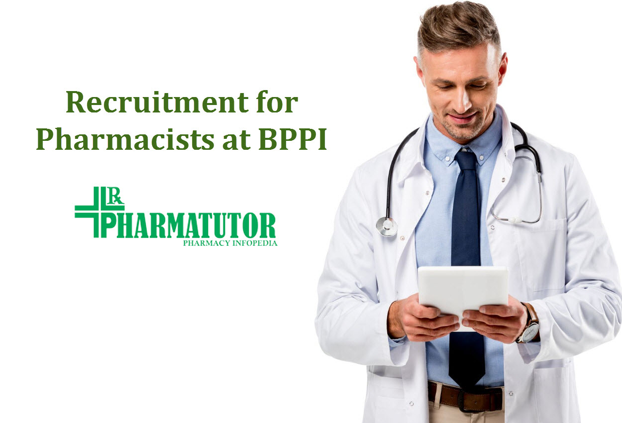 Recruitment for Pharmacists at BPPI - Government of India Job