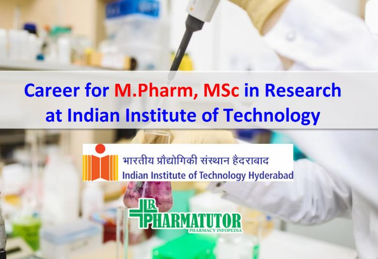 Career for MPharm MSc in Research at Indian Institute of Technology