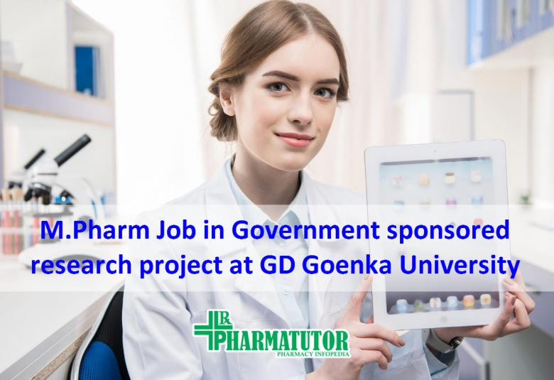 Opportunity for MPharm to work in Government of India sponsored research project