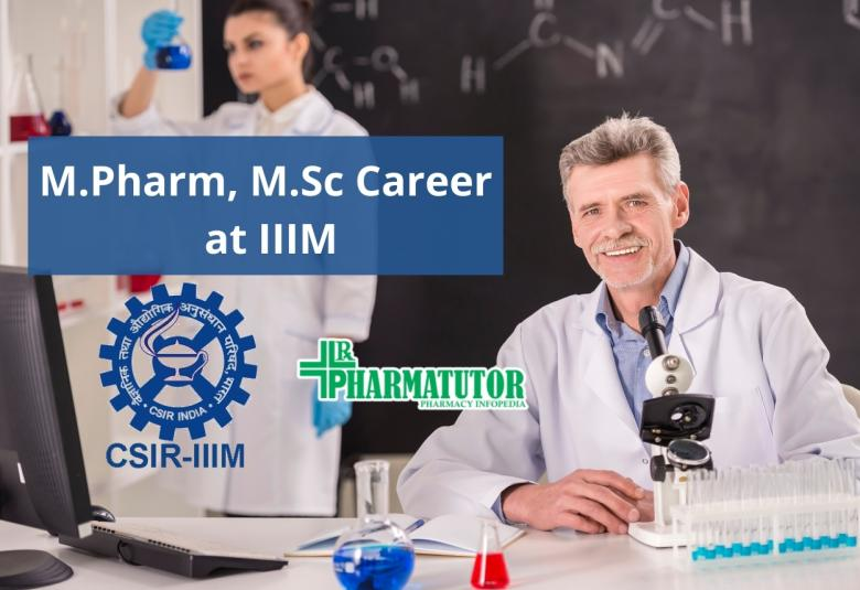 Opportunity for M.Pharm, M.Sc in the research project at IIIM